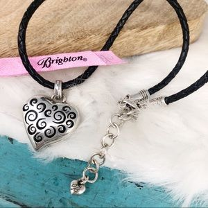 Brighton Scroll Heart Braided Leather Necklace